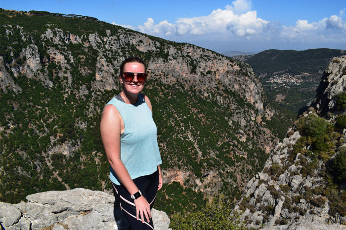 Emma hiking in Lebanon, HA travel specialist